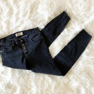 Free People Black Buttoned Skinny Jeans Mid Rise